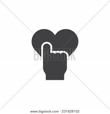 Hand Push Heart Button Vector Icon. Filled Flat Sign For Mobile Concept And Web Design. Like Give Si