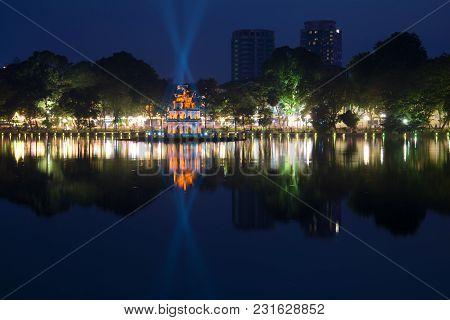 Hanoi, Vietnam - January 10, 2016: Evening Panorama Of Hoan Kiem Lake. Historic Center Of Hanoi
