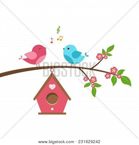 Singing Bird On Branch. Spring Scene With Flowers, Trees And A Birdhouse. Vector Illustration On Whi