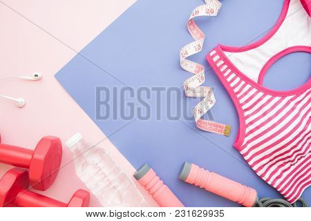 Creative Flat Lay Sport, Fitness And Diet Concept On Pastel Color Background, Healthy Lifestyle