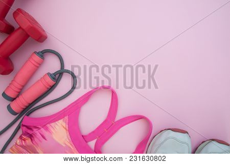 Healthy And Diet Concept, Sport Equipments On Pink Pastel Background, Flat Lay
