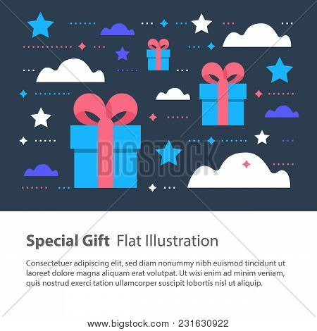 Special Gift, Creative Unusual Present, Surprising Box Concept, Birthday Card, Vector Flat Illustrat