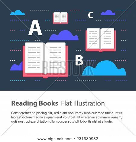 Reading Books, Creative Concept, Children Illustration, Learning Grammar, Learning To Read