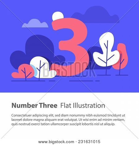 Number Three, Top Chart Concept, Sequential Number, Night Sky, Park Trees, Vector Flat Design, Minim