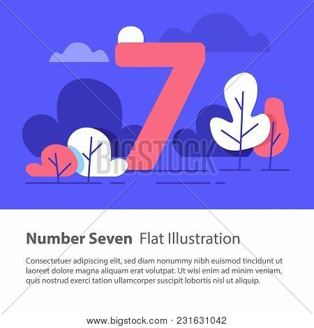 Number Seven, Top Chart Concept, Sequential Number, Night Sky, Park Trees, Vector Flat Design, Minim