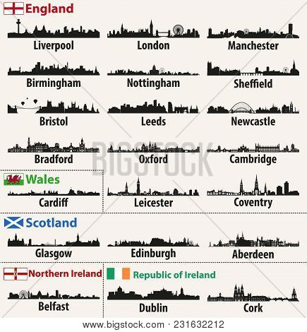 Vector City Skylines Of British Isles Countries (england, Scotland, Wales, Northern Ireland And Repu