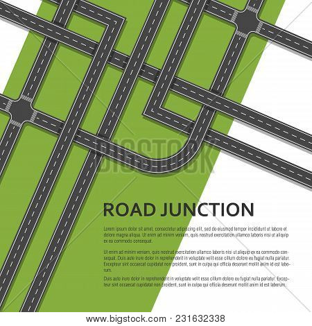 Complex Road Junction With Place For Text. Top View. Vector Illustration.