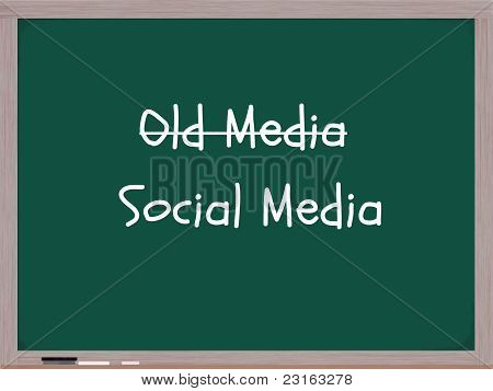 A blackboard with chalk and an eraser showing the writing of old media crossed out and social media replacing it. A new media concept. poster