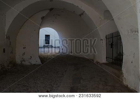 Old Medieval Church Entrance In Medias, Romania.