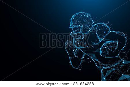 Abstract American Football Player In Action From Lines And Triangles, Point Connecting Network On Bl