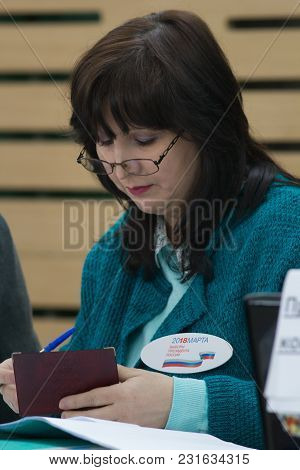 Kazan, Russia - 18 Marth, 2018 - Presidential Elections In Russia - Woman Chairman Of The Election C