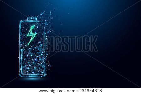 Abstract Battery Charging Icon Form Lines And Triangles, Point Connecting Network On Blue Background