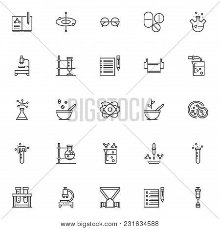 Chemistry Science Outline Icons Set. Linear Style Symbols Collection, Line Signs Pack. Vector Graphi