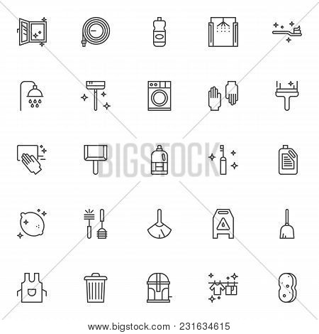 Cleaning Service Outline Icons Set. Linear Style Symbols Collection Line Signs Pack. Vector Graphics