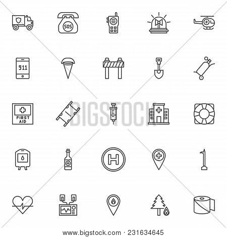 Emergency Outline Icons Set. Linear Style Symbols Collection, Line Signs Pack. Vector Graphics. Set