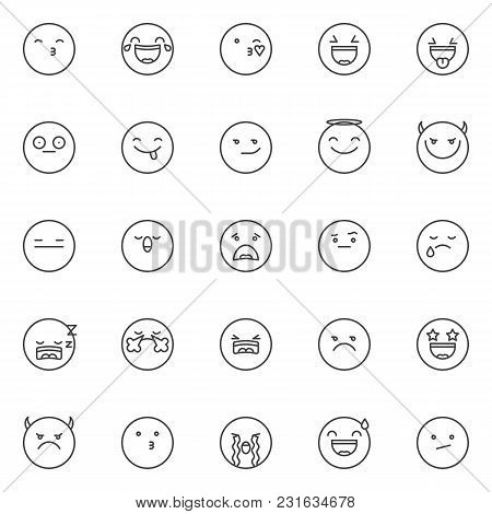 Emoticon Outline Icons Set. Linear Style Symbols Collection, Line Signs Pack. Vector Graphics. Set I