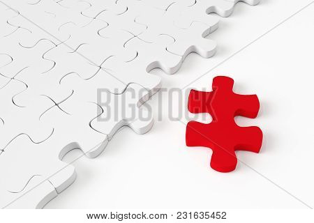 3d White Jigsaw Puzzle On White Background.
