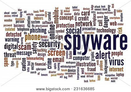 Spyware Word Cloud. Creative Illustration Of Idea Word Lettering Typography . 3d Rendering.