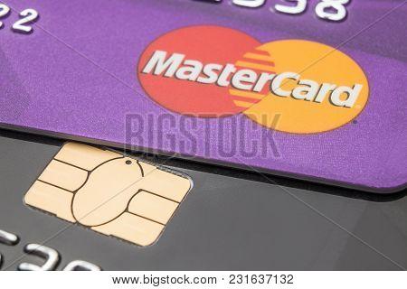 Bank Cards Of The Mastercard Close-up. Cheboksary, Chuvash Republic, Russia, 18/03/2018.