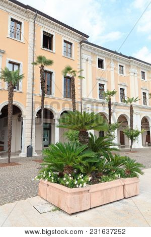 Townhall And Palm Trees In Salo At Lake Garda, Italy