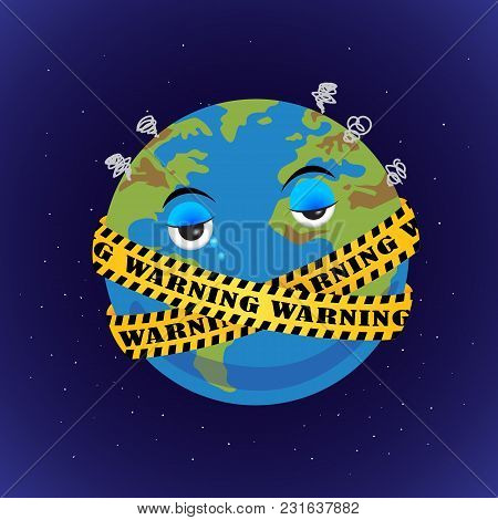 Globe Character. Warning Sign Around The World. Save The Earth!