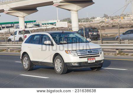 Dubai, Uae February 20, 2018: Ford Car Drive On The City Highway