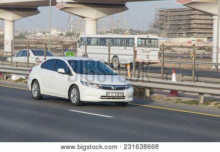 Dubai, Uae February 20, 2018: Honda Car Drive On The City Highway