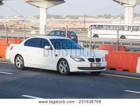 Dubai, Uae February 20, 2018: Bmw Car Drive On The City Highway