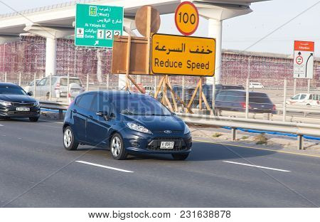 Dubai, Uae February 20, 2018: Car Drive On The City Highway