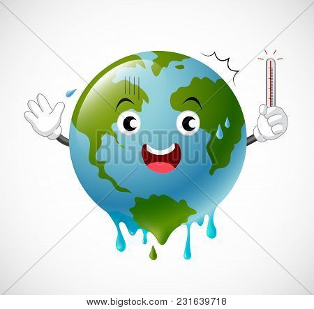 Poorly Globe Character Scared Of Thermometer. Global Warming Concept. Illustration.