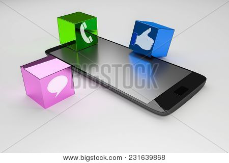 Modern Black Glossy Touchscreen Smartphone With Social Medians Isolated On White Background.3d Rende