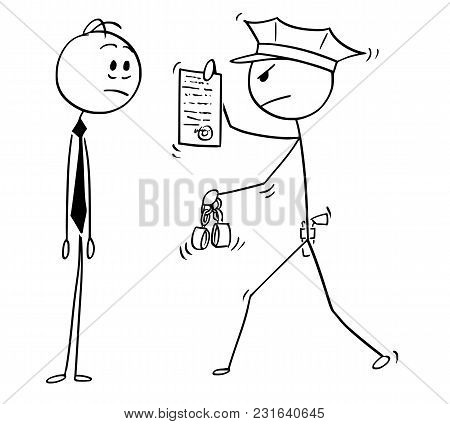 Cartoon Stick Man Drawing Conceptual Illustration Of Businessman Arrested By Policeman. Business Con