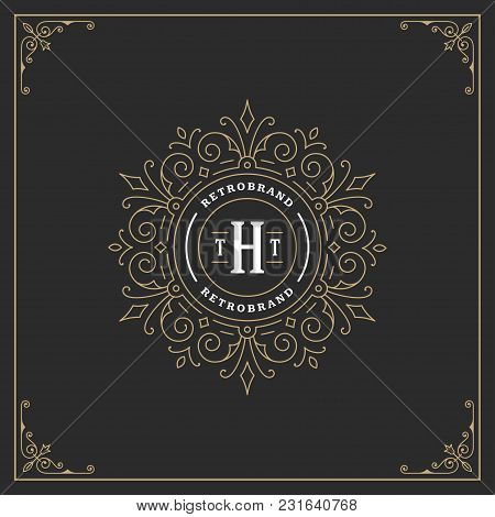 Ornament Monogram Logo Design Template Vector Flourishes Calligraphic Vintage Frame. Good For Luxury