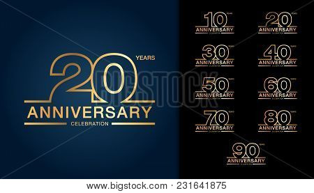 Set Of Anniversary Logotype. Golden Anniversary Celebration Emblem Design For Booklet, Leaflet, Maga
