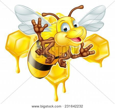 An Illustration Of A Cute Cartoon Bee Mascot Character In Front Of A Honeycomb Dripping With Drops O