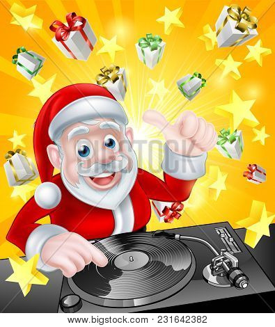 Cartoon Christmas Santa Claus Dj At The Record Decks With Christmas Gift Presents And Stars In The B
