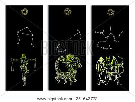 Set With Scales, Scorpio And Archer Zodiac Symbols Banners On Black. Hand Drawn Vector Illustration.
