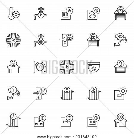 Automation Elements Outline Icons Set. Linear Style Symbols Collection, Line Signs Pack. Vector Grap