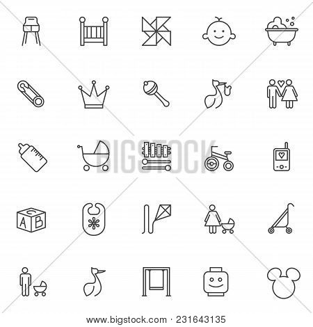 Baby Accessories Outline Icons Set