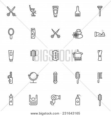 Barber Accessories Outline Icons Set. Linear Style Symbols Collection, Line Signs Pack. Vector Graph
