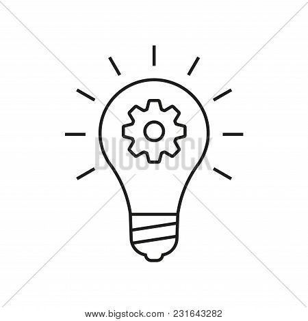 Idea Outline Icon. Light Bulb With Cog Or Gear Sign. Vector Illustration.