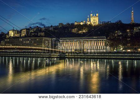 View Of Lyon And Saone River At Night, France.
