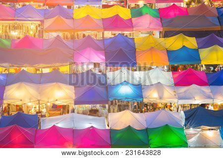 Roof Top Multiple Colour Flea Market, Cityscape Background