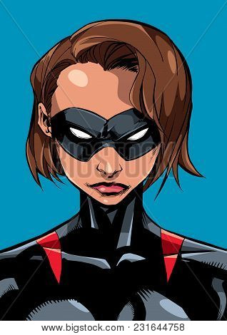Comics Illustration Of The Portrait Of A Powerful Masked Superheroine Looking At Camera With A Tough