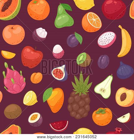Fruits Set Vector Fruity Apple Banana And Exotic Papaya With Fresh Slices Of Tropical Dragonfruit Or