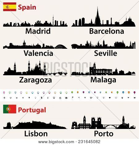Spain And Portugal Largest Cities Skylines Silhouettes Vector Set