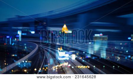 Double Exposure City Night Bokeh Light Over Motion Train Moving, Abstract Background