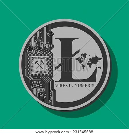 Coin Of Crypto Currency Litecoin, Drawn In Vector