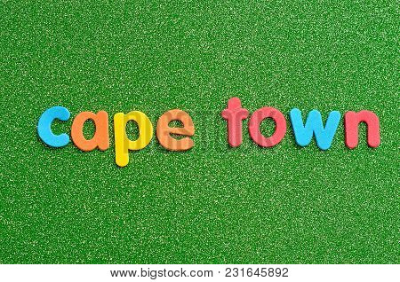 The Word Cape Town On A Green Background