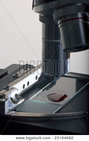Microscope with blood sample